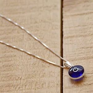 Evil Eye Silver Necklace W/ Blue Glass Pendant NWT